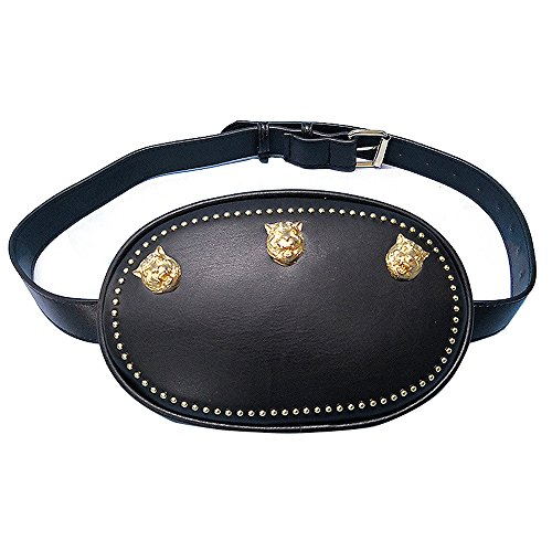 Olyly Designer Leather Waist Bag for Women with Lion Insect Pattern (Black_tiger) -