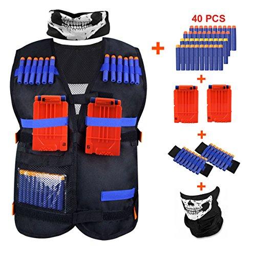 KINBON Kids Tactical Vest Kit, Adjustable Boys Nerf Vest for Nerf N-strike Elite Series Kids with 40 Pcs Foam Darts + 2Pcs 6-dart Quick Reload Clip + 1Pcs Skull Mask + 2Pcs 8-dart Wrist Band by KINBON