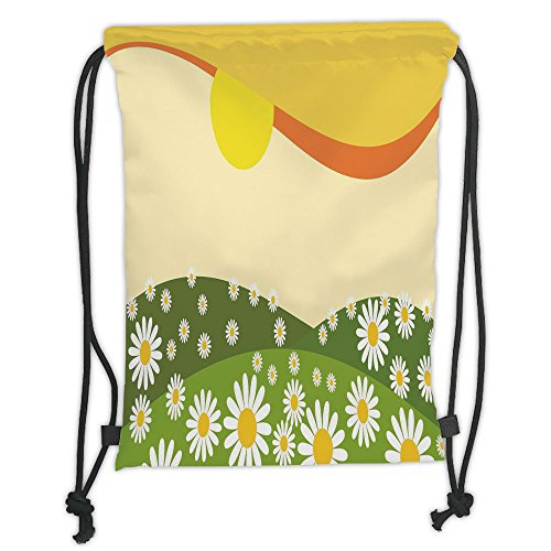 Custom Printed Drawstring Sack Backpacks Bags,Nature,Daisy Flower Field with Chamomiles Hill under Sun Idyllic Cartoon Decorative,Cream Lime Green Earth Yellow Soft Satin,5 Liter Capacity,Adjustable ()