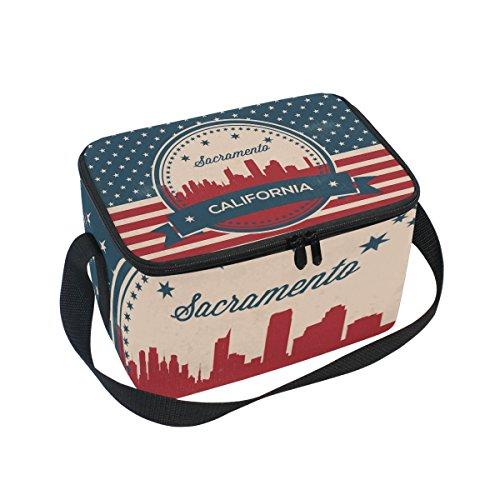 Vintage American Flag California State Sacramento Skyline Insulated Lunch Bag Box Cooler Bag Reusable Tote Bag Outdoor Travel Picnic ()