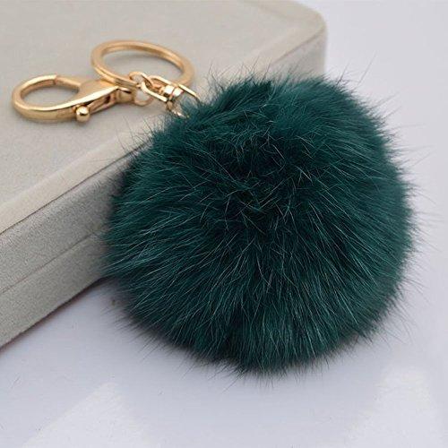 lotusflowert Novelty Keychain with Plush Cute Artificial Rabbit Fur Key Chain for Car Key Ring Bag Purse Charm (Atrovirens)