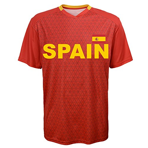 World Cup Soccer Spain Federation Jersey Short Sleeve Tee, Small (8), (Adidas Spain Soccer Jersey)