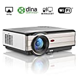 Projector Android Wirless 3500 Lumen HD LCD Projector Video Gaming Home Theater Support 1080P Backyard Movie with HDMI USB VGA TV for Laptop Smartphone iPad TV Box PS4