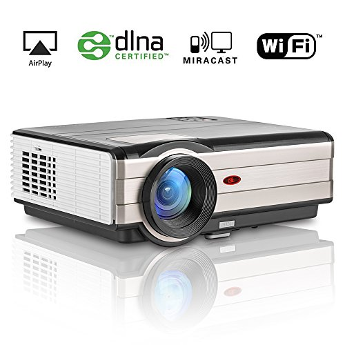 EUG Android LED LCD Movie Projector WiFi, Support HD 1080P 3500 Lumen Wireless Projectors Home Theater Cinema for PC Cell Phone iPad Blu Ray DVD Player TV Xbox Wii PS4, with HDMI USB*2 VGA TV (Replace Dvd Drive 360 Xbox)
