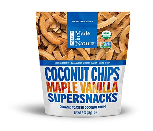 Made in Nature Toasted Coconut Chips, Maple Vanilla, A Tasty Coconut Chip Flavored with Sweet Vanilla Bean and a Kiss of Real Maple Syrup, 3 Ounce (Pack of 6)