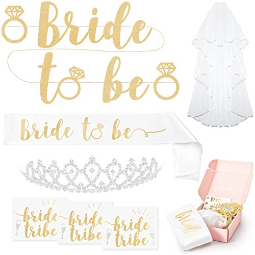 xo, Fetti Bachelorette Party Bride To Be Decorations Kit - Bridal Shower Supplies | Sash For Bride, Rhinestone Tiara, Gold and Silver Banner, Veil + Bride Tribe Flash Tattoos