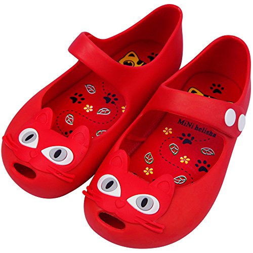 iFANS Girls Cat Princess Jelly Shoes Mary Jane Flats for Toddler Little Kids,Red,8.5 M US Toddler