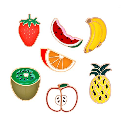 Pin Fruit Brooch (WINZIK Lapel Pins Set 7Pcs Cute Pineapple Strawberry Watermelon Fruits Series Brooch Badges For Women Girls Clothes Bags Decor)