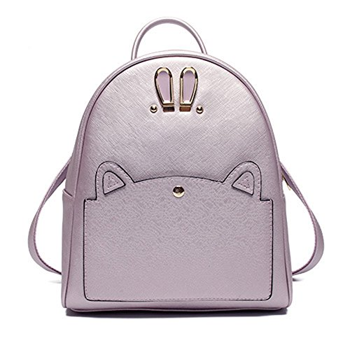 Trendy mochila de cuero PU bolsos de Viajes Escuela Bolsas Mochila de ojo de conejo lindo para las niñas Lavanda Bolsos Mochila Lavanda Bolsos Mochila
