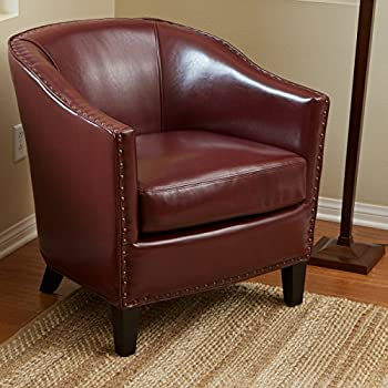 Carlton | Leather Club Chair With Studded Accents | In Red