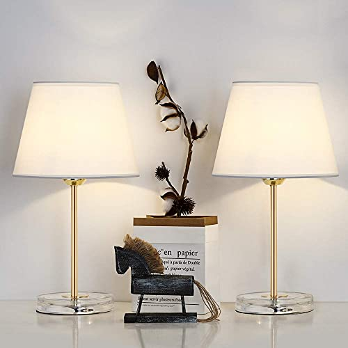 Table Lamps Set of 2 Bedside Modern Nightstand Small Table Lamps Minimalist Classic Desk Lamps with Golden Metal Acrylic Base White Fabric Lampshade for Bedroom Living Kids Girls Coffee Room