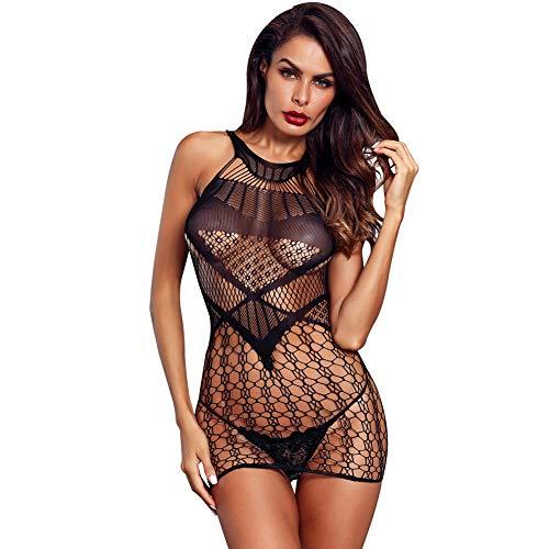 - BECHARNY Women's Mesh Lingerie Fishnet Babydoll Mini Dress V Neck Free Size Bodysuit for Lady