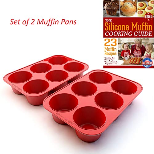 (Silicone Texas Muffin Pans and Cupcake Maker, 6 Cup Large, Professional Use, Plus Muffin Recipe Ebook)