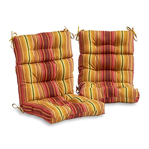 3- Section Outdoor High Back Chair Cushions, Set of 2, Kinnabari Stripe, Includes Cross Scented Candle Tart