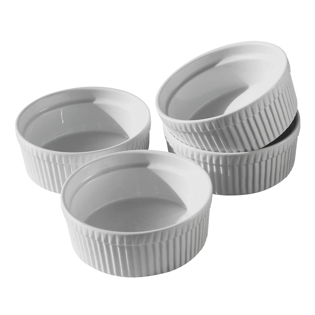 Cinf Porcelain Ramekin White 10 oz. Pudding Bowls Dishes Cup for Baking- Set of 4,Soufflé Cups Dishes, Creme Brulee, Custard Cups, Desserts,Oven,Microwave,Freezer and Dishwasher Safe ... by Cinf