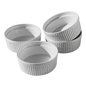Cinf Porcelain Ramekin White 10 oz. Pudding Bowls Dishes Cup for Baking- Set of 4,Soufflé Cups Dishes, Creme Brulee, Custard Cups, Desserts,Oven,Microwave,Freezer and Dishwasher Safe …