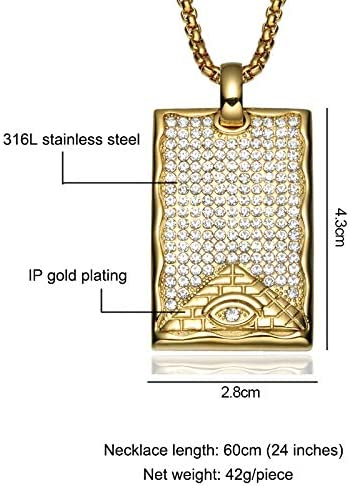 TUDUDU AAA Cz Crystal Illuminati Pyramid Eye Necklaces & Pendant Gold Titanium Dog Tag Necklace for Men Jewelry Length 60Cm