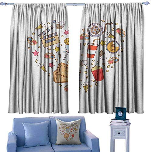 ParadiseDecor Movie Theater Door Curtains Cinema Attribute Love Retro Icons Collection in The Shape of a Heart Colorful,Home Decor Fashion Backout Draperies,W42 x L63 Inch