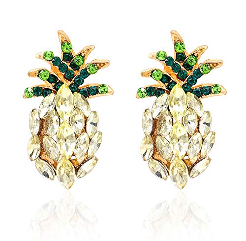 - Hanloud Gold Crystal Pineapple Stud Earrings-Green Yellow Crystal Pineapple Fruit-Earrings for Women Girl