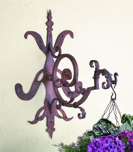 Iron Gothic Scroll Hanging Bracket | Wall Mounted Hook Hanger Outdoor by Intelligent Design