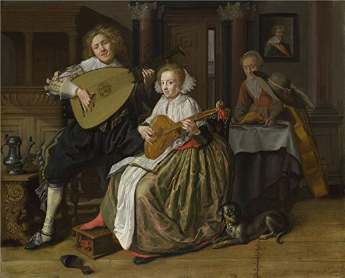 'Jan Molenaer A Young Man And Woman Making Music ' Oil Painting, 24 X 30 Inch / 61 X 76 Cm ,printed On Perfect Effect Canvas ,this Cheap But High Quality Art Decorative Art Decorative Prints On Canvas Is Perfectly Suitalbe For Basement Gallery Art And Home Artwork And Gifts