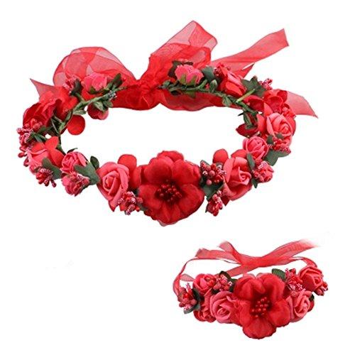 Fleurs élégante guirlande Bracelet Couronne cheveux Headpiece mariage, Rouge