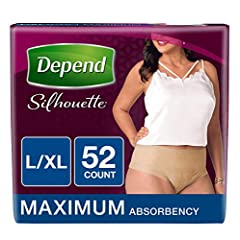 Depend Silhouette Incontinence Briefs take their cues from your lifestyle and your needs. The improved sleek fit and feminine design are inspired by you, so you feel like you're wearing real underwear, unlike bulky adult diapers. Depend incon...