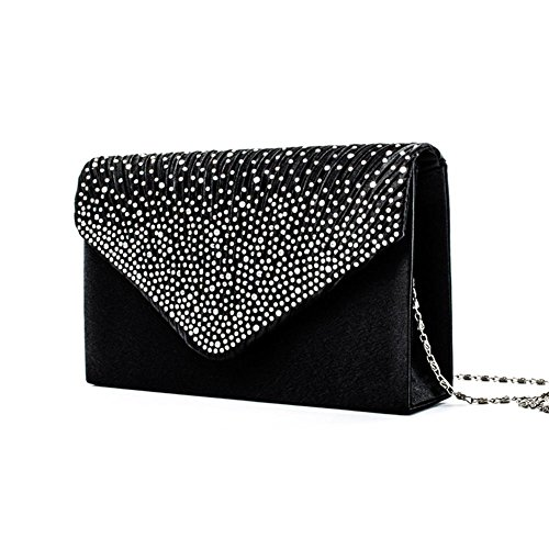 Bag Shoulder Wedding Envelope Clutch Rhinestone for studded Clutch Women's Party iShine Bag Satin Black Evening 7nqxz8WYAH