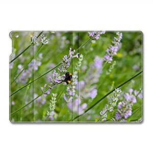 iPad Air Leather Case, Lavender And Bee Folding Leather Folio iPad Air Stand Case Cover for iPad 5
