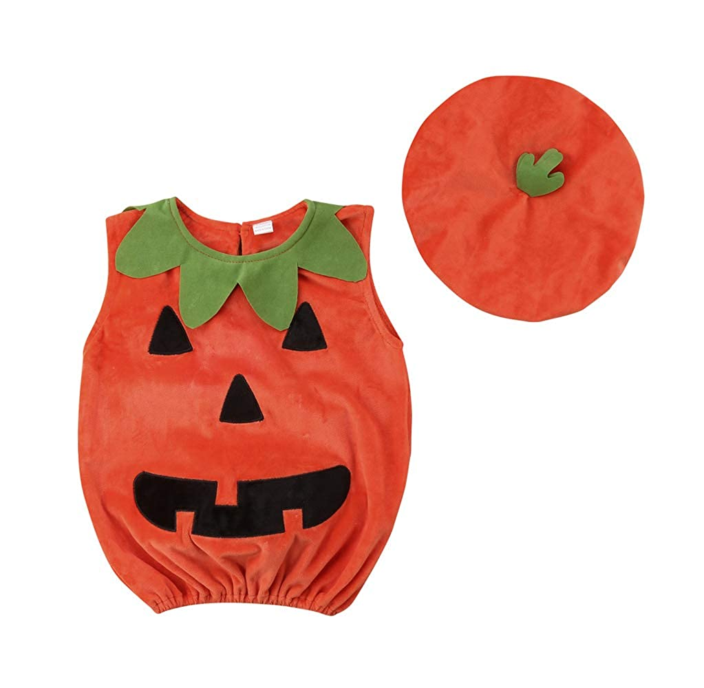 Imcute Unisex Baby Halloween Costumes Pumpkin Tank Top Hat Cosplay Outfit