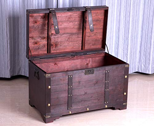 Vintiquewise Antique Cherry Large Wooden Storage Trunk