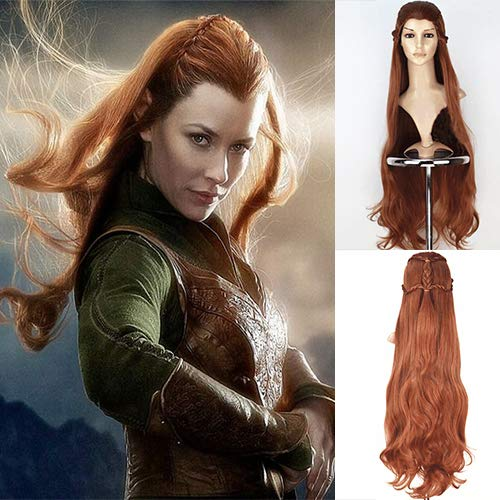 Halloween Costumes Elf Lord Rings (Blue Bird Movie The Hobbit The Lord of the Rings Elf Tauriel Cosplay Wig Golden Brown Hair Long Wavy Braids Costume Wigs for Women Halloween Party)