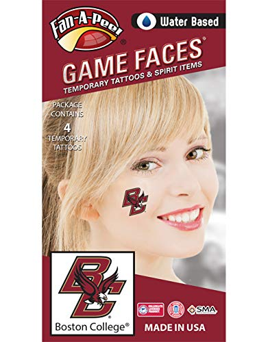 Fan A peel Boston College (BC) Eagles – Water Based Temporary Spirit Tattoos – 4-Piece – Maroon/Gold BC Logo