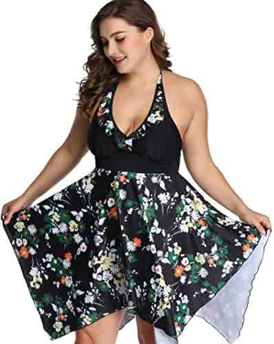 5f3f6c6f14722 sanrense Women's Plus Size Swimwear Two Piece Swimsuits Summer Halter  Floral Printed Swimdresses