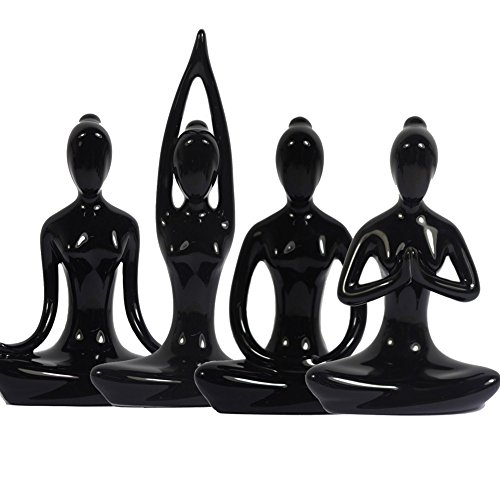4.25'' BLACK Set of 4 Home Decorative Porcelain Ceramic Yoga Pose Yoga Figurine Statue, Meditation Room Yoga Figurine, Yoga Pose Statue by KiaoTime