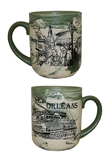 New Orleans Steamboat and French Quarter Green Marble Coffee (New Orleans French Quarter Market)