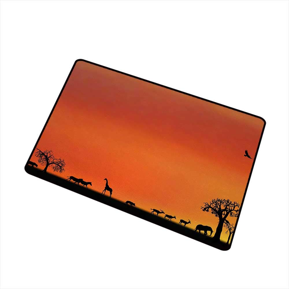 Moses Whitehead Entrance Mat Africa,Panorama of Safari Animals Gulls Reflections in Background at Sunset Scenery,Burnt Orange Black,for Indoor Outdoor Easy Clean Entry Way,35''x47'' by Moses Whitehead