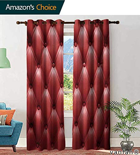 LQQBSTORAGE Custom Pattern Curtains Sliding Glass Doors English red Genuine Leather Upholstery, Chesterfield Style Background, Curtains for Sliding Glass Door, W96 x L108 Inch, (2 Panels)