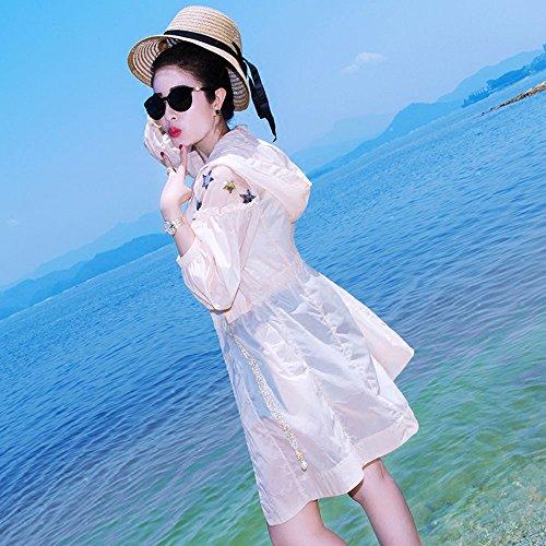 QFFL fangshaifu 女性の長いセクション通気性の緩い日保護服/夏のフード付きのビーチ日焼け止めのショール/薄いファッションのスプライスロングスリーブコート (サイズ さいず : Xl xl)