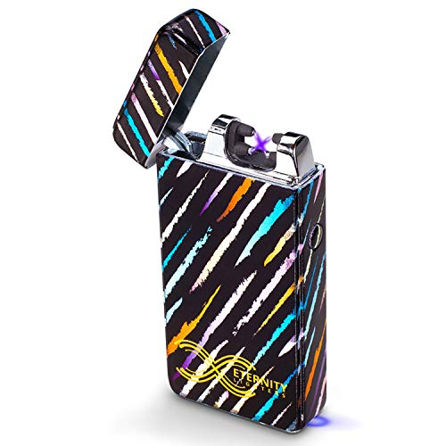 ETERNITY Lighters Flameless Electronic Rechargeable Windproof Premium Survival or Candle Lighter with Dual Arc, USB Cord, Brush, and Bag in Gift Box ()