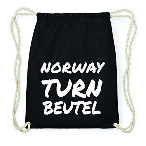 JOllify NORWAY Hipster Turnbeutel Tasche Rucksack aus Baumwolle - Farbe: schwarz Design: Turnbeutel