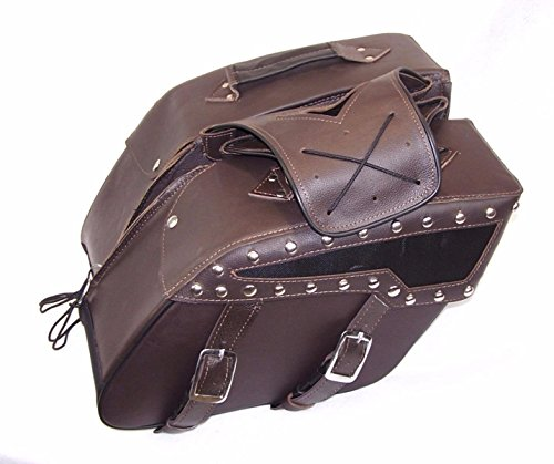 Brown Genuine Leather Motorcycle Saddlebags Detachable Set ZIP off STUDDED (Studded Set Leather)