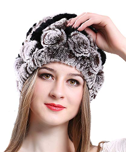 Women's Winter Rex Rabbit Fur Hats Snow Warm Ladies Beanies