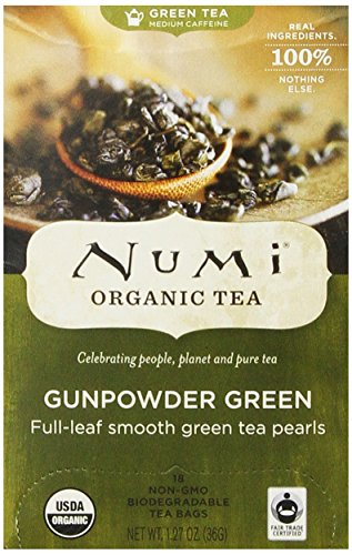 Numi Organic Tea vert Gunpowder, complet Green Leaf Tea, 18-Count sachets de thé, 1,27 onces (Pack de 3)