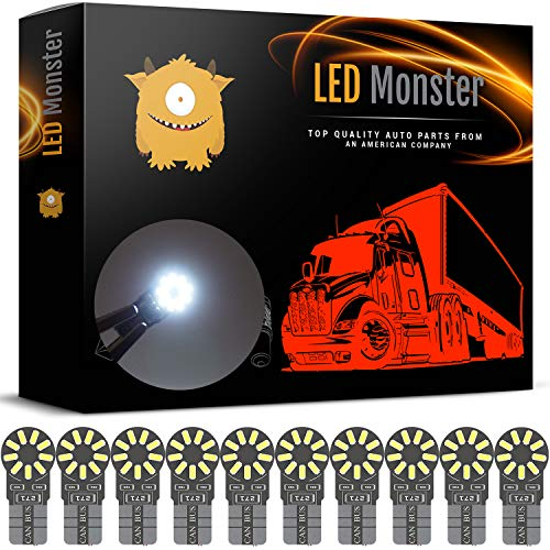 LED Monster 10-Pack White 18SMD LED Bulbs 194 168 T10 2825 Car Interior Light Dome Map License Plate Lights Lamp