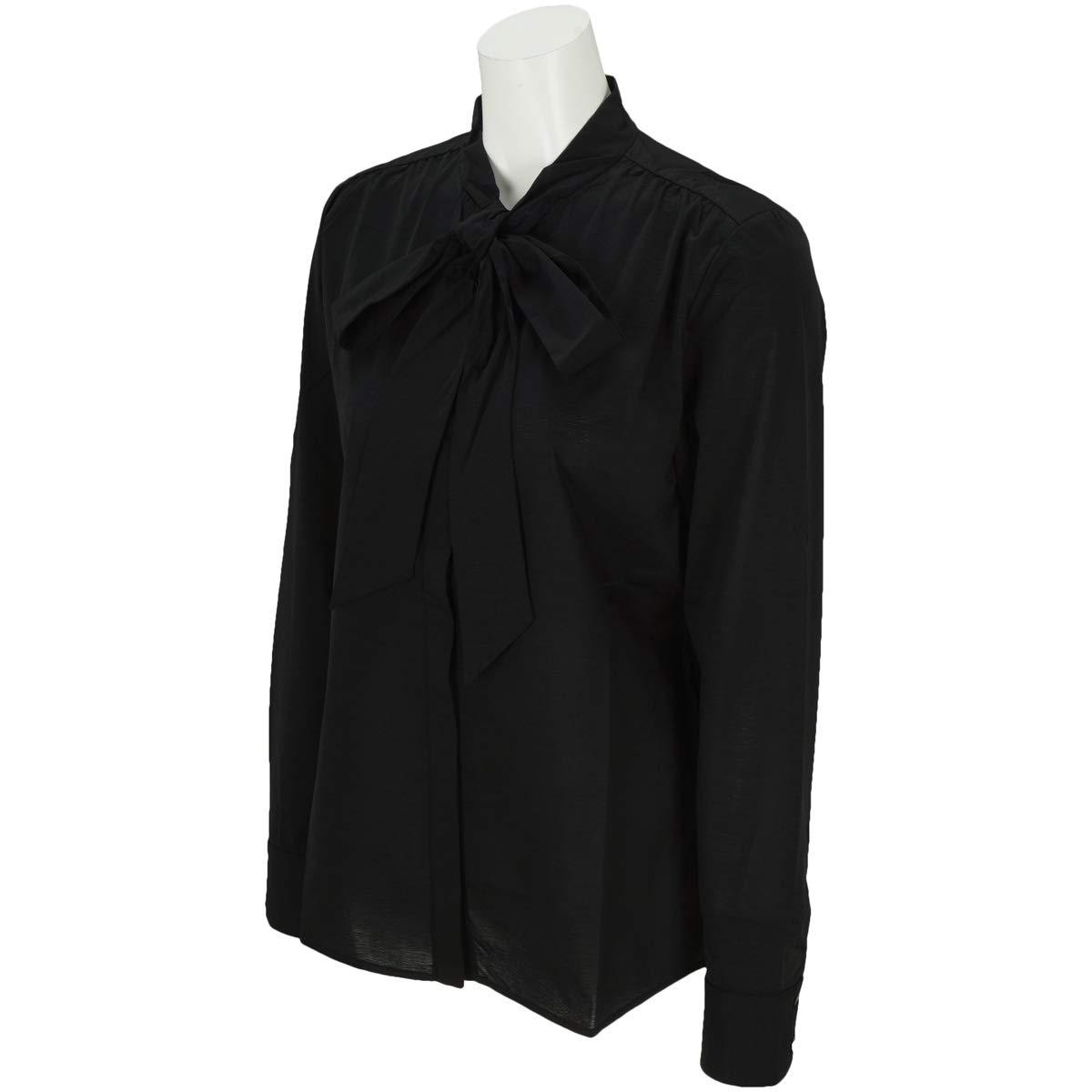 セントアンドリュース St ANDREWS 長袖シャツポロシャツ BlackLabel 半回縞リボンタイ長袖シャツ レディス B07JLQWKHT M|ブラック 010 ブラック 010 M