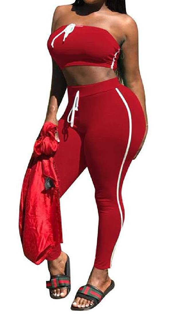 Fensajomon Womens Solid Color Two Piece Crop Top and Leggings Pants Yoga Gym Workout Off Shoulder Tracksuits Club Outfits