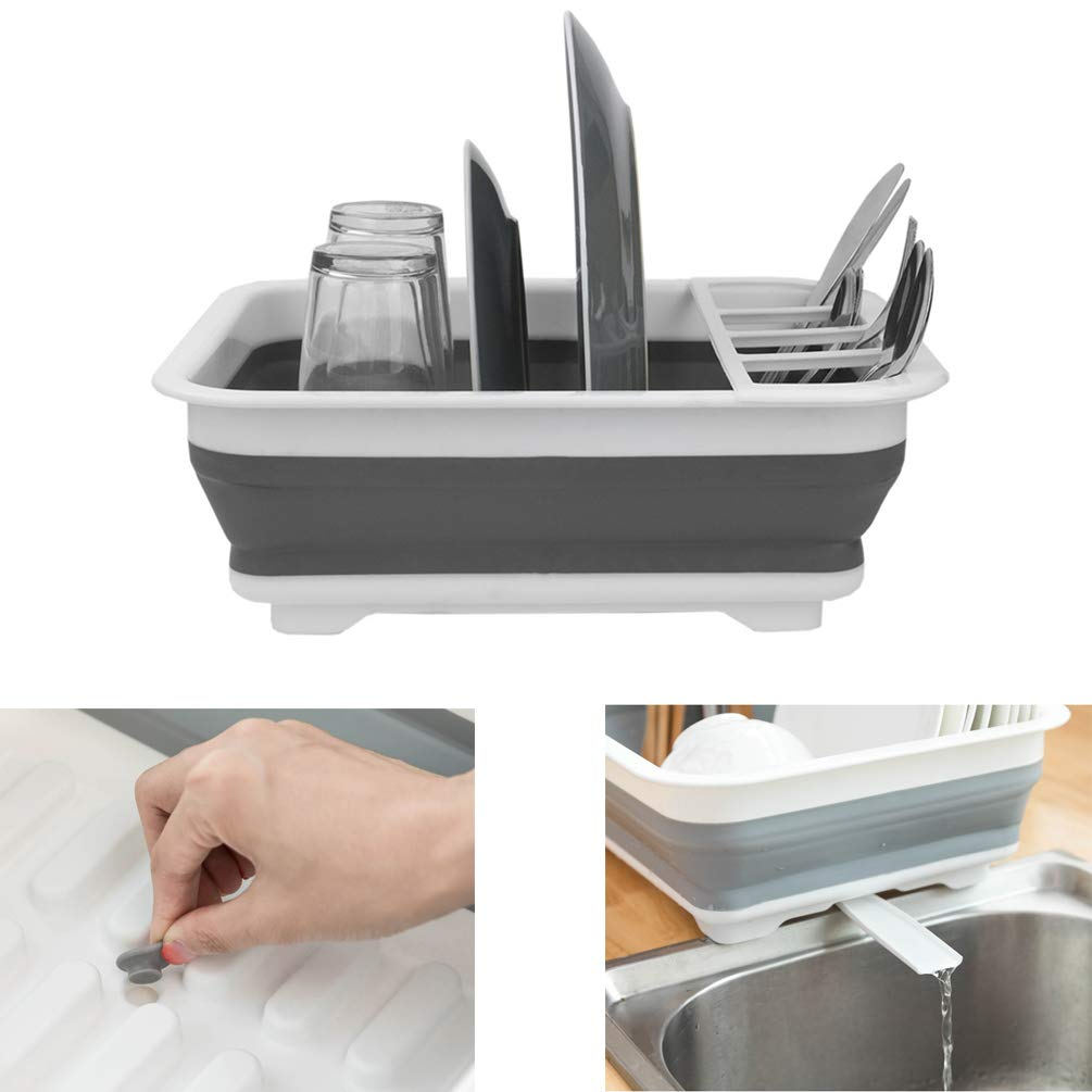 X-Home Collapsible Dish Drying Rack with Drainer Pipe to Sink Easy Cleaning Simple Human Dinnerware Organizer