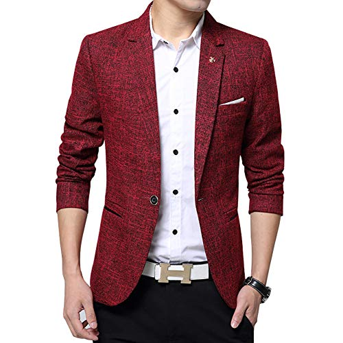 Men's Blazer Jacket Slim Fit One Button Sport Coat Notch Lapel Casual Business Solid Single Breasted Outwear (Red, -