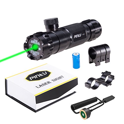 Pinty Hunting Rifle Green Laser Sight Dot Scope Adjustable with Mounts (Adjustable Pistol Sights)